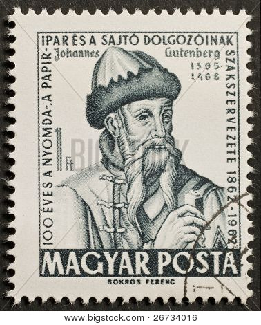 HUNGARY - CIRCA 1962: a stamp printed in Hungary shows image of Johannes Gutemberg, the famous inventor of mechanical movable type printing. Hungary, circa 1962