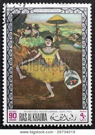 RAS AL KHAIMA (EMIRADO) - por volta de 1968: um selo imprimido em Ras-Al-Khaima (EAU) mostra