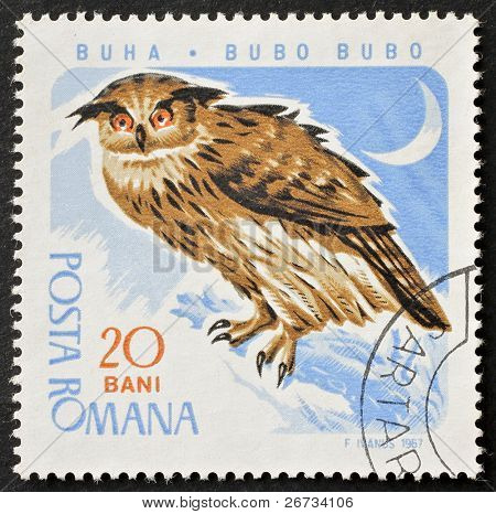 ROMANIA - CIRCA 1967: a stamp printed in Romania shows image of an owl standing on tree brunch. Romania, circa 1967