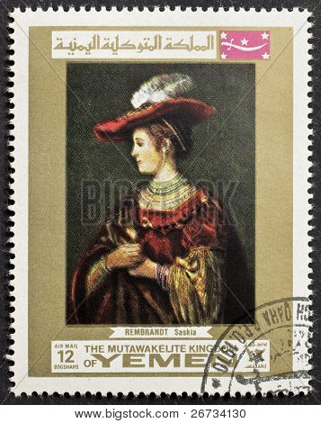 YEMEN - CIRCA 1969: a stamp printed in Yemen shows a portrait of Rembrandt's wife Saskia, painted by the famous Dutch artist. Yemen, circa 1969