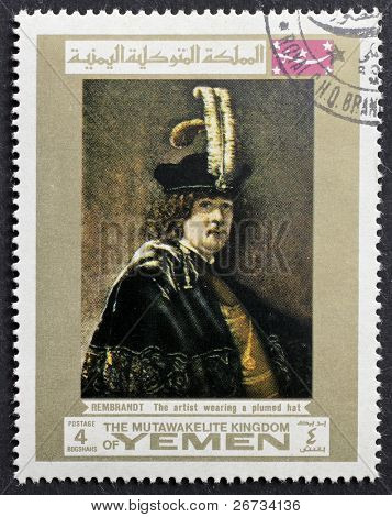 YEMEN - CIRCA 1969: a stamp printed in Yemen shows a self portrait of Rembrandt wearing a plumed hat. Yemen, circa 1969