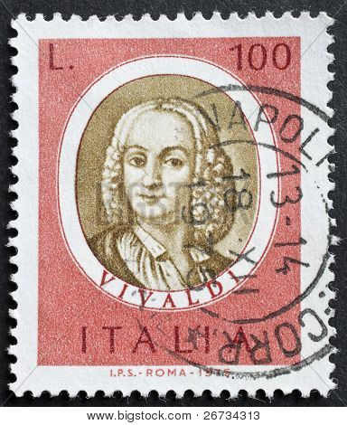 ITALY - CIRCA 1975: a stamp printed in Italy shows image of Antonio Lucio Vivaldi, the famous italian opera composer. Italy, circa 1975