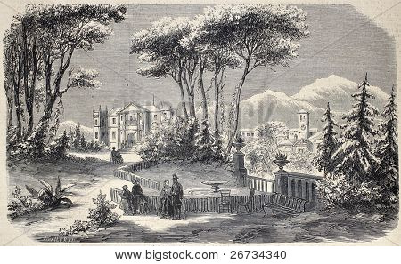 "Antique illustration shows Villa Raimondi, in the village of Fino, near Milan. Original  by M. Crapelet and J. Gaildrau, was  published on ""L'Illustration, Journal Universel"", Paris, 1860"