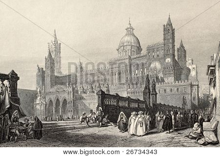 Antique illustration of Palermo Cathedral, Italy. The original engraving, created by W. Leitch and J. H. Le Keux, was published in London in 1840 ca.