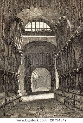 Ilustración antigua de catacumbas de Capuchinos en Palermo, Italia. El grabado original fue creado b