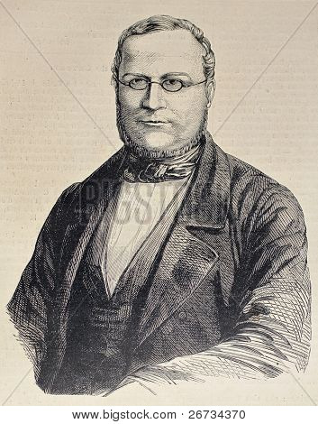 Engraved portrait of Camillo Benso di Cavour, leading figure in Italian unification movement. Original, after drawing by Hofer, was  published on L'Illustration, Journal Universel, Paris, 1860