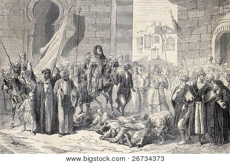 Antique illustration of Dosseh ceremony, procession on living bodies. Original, from a design of   Bida and Janet-Lange, was  published on