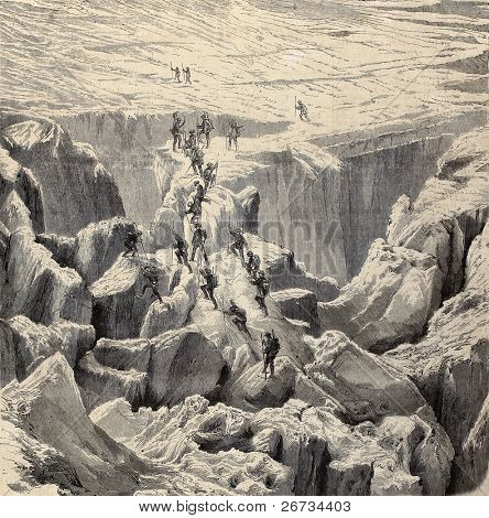 "Antique illustration of Monte Bianco climbing. Original was engraved from a drawing of Rouargue after photo of M. Bisson and was published on ""L'Illustration, Journal Universel"", Paris, 1860"