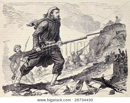 "Spanish-basque soldier during Moroccan expedition. Original , from a drawing of Worms after sketch of M. P. de Landesa, was  published on ""L'Illustration, Journal Universel"", Paris, 1860"