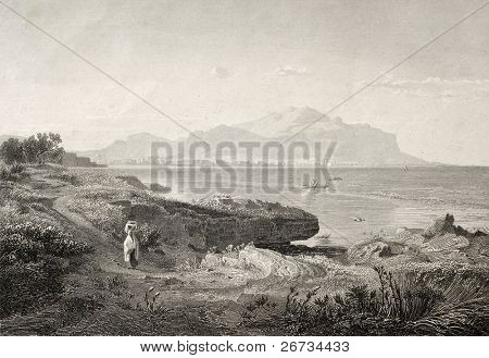 Old engraving shows image of Palermo gulf. Original illustration was created by A. Achenbach and J. Richter and was published in Trieste in 1840 ca.
