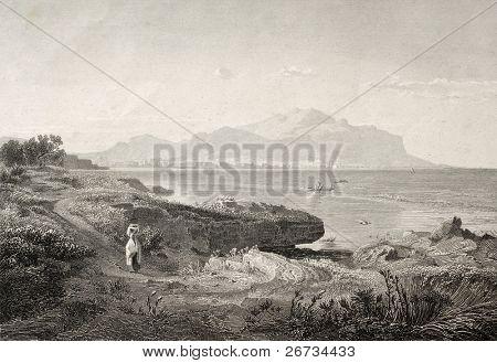 Grabado antiguo muestra imagen de Golfo de Palermo. Ilustración original fue creado por Achenbach A. y J.