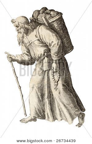 Monk isolated on white from an old illustration. The original illustration may be dated to the end of 16th c. and was created by Raphael Sadeler