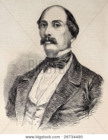 "Antique illustration of Luigi Carlo Farini, Italian statesman and historian. Original, from drawing of Hofer, was  published on ""L'Illustration, Journal Universel"", Paris, 1860"
