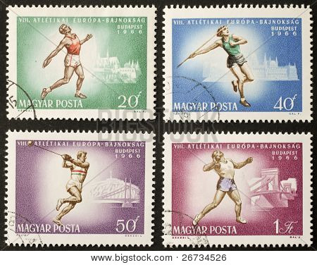 HUNGARY - CIRCA 1966: four stamps printed in Hungary celebrates European Athletics Championship showing images of throwing competitions. Hungary, circa 1966