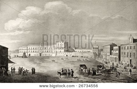 Old illustration of Royal Palace Place, in Palermo, Italy. The original engraving, created by Dura, Fregola, Cuciniello and Bianchi, may be dated to the first half of 19th c.