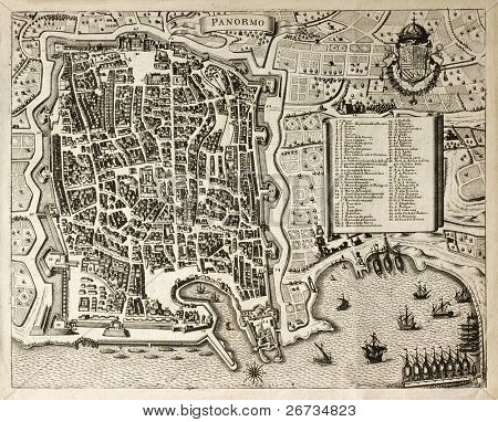 Antique map of Palermo, the main town in Sicily. The map can be dated to the 17th century and bears 66 numbered marks for places description