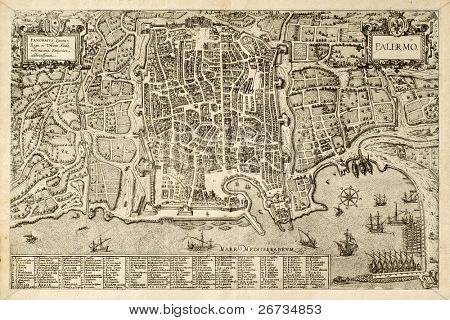 Antique map of Palermo, the main town in Sicily. The map can be dated to the 17th century and bears 162 numbered marks for places description
