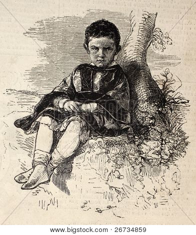 Old engraved juvenile portrait of His Royal Highness Prince Thomas, Duke of Genoa. Original, from a photo of M. Poncy, was published on L'Illustration, Journal Universel, Paris, 1860