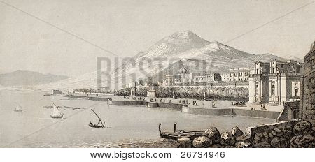 Antique illustration showing marine landscape of Palermo, Italy. Original engraving created by Lenormand and Rouargue is datable to the half of 19th c.