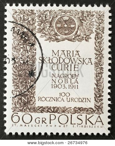 POLAND - CIRCA 1967: a stamp printed in Poland celebrates first centenarian of Maria Curie birth's, the famous scientist. Poland, circa 1967