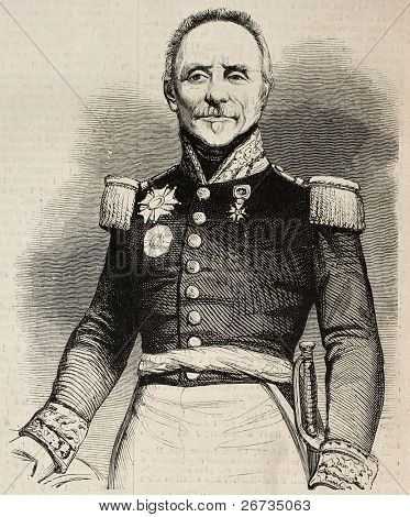Portrait of General Camille Alphonse Trezel, Minister of war. Original, from a drawing of Marc, after daguerreotype of Karl de Nantes, was published on L'Illustration, Journal Universel, Paris, 1860