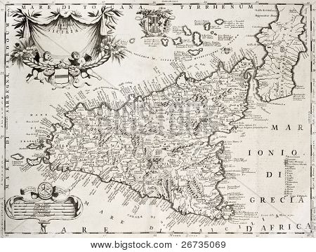 An old map of Sicily, the original was created by V. M. Coronelli and was published in Venice in 1696