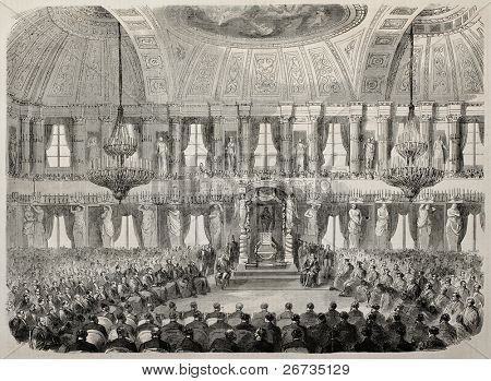 Court of Cassation installation in Milan, Royal Palace, Hall of Cariatidi, destroyed by fire in 1943. Drawing of Durand, after sketch of P. Ronchetti, on L'Illustration, Journal Universel, Paris, 1860