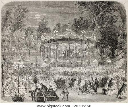 Antique illustration of concert pavilion in Champs Elysées, Paris. Original, from drawing of Provost, was published on L'Illustration, Journal Universel, Paris, 1860