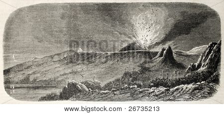 Antique illustration of volcano eruption on La Reunion island. Original engraving, drom drawing of Anastasi, after sketch of Roussin, was published on L'Illustration, Journal Universel, Paris, 1860