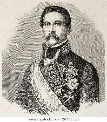 Engraved portrait of General J. Zabala, commanding officer in the second corp of Spanish army in Morocco. Original, from drawing of Hofer, published on L'Illustration, Journal Universel, Paris, 1860