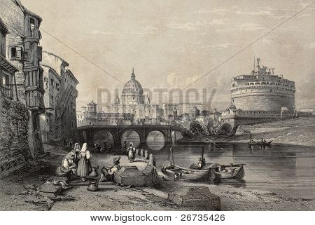 Old illustration of Tevere river in Rome, with Castel Sant'Angelo and St. Peter's dome in background. Original created by Major Irton and R. Sands, published in Florence, Italy, 1842, Luigi Bardi ed.