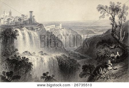 Antique illustration of  Tivoli waterfalls, near Rome, Italy. Original, created by W. H. Bartlett and E. Brandard, was published in Florence, Italy, 1842, Luigi Bardi ed.