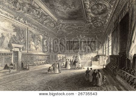 Antique illustration of Sala dei Pregadi, in Doge's Palace, Venice, Italy. Original created by J. Franklin and E. Challis, published in Florence, Italy, 1842, Luigi Bardi ed.