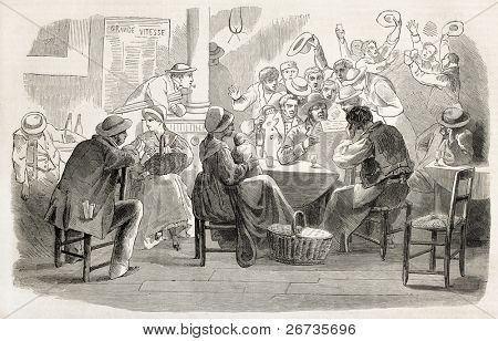 Old illustration of people cheering inside a bar reading good news. Original engraving, after drawing of Maillot and Ferat, was  published on L'Illustration, Journal Universel, Paris, 1860