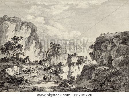 View of Enna surrounding mountains, Sicily. Created by Chatelet and Du Parc, published on Voyage Pittoresque de Naples et de Sicilie, by J. C. R. de Saint Non, Imprimerie de Clousier, Paris, 1786