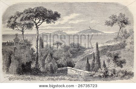 Antique illustration of Gaeta, Italy, residence of King Francis II of the Two Sicilies. Original, from drawing of Freemann, was published on L'Illustration, Journal Universel, Paris, 1860