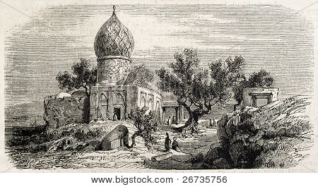 Antique illustration of Iman Zade Kassem, near Tehran, Persia. Original, after drawing of Duhousset, was published on L'Illustration, Journal Universel, Paris, 1860