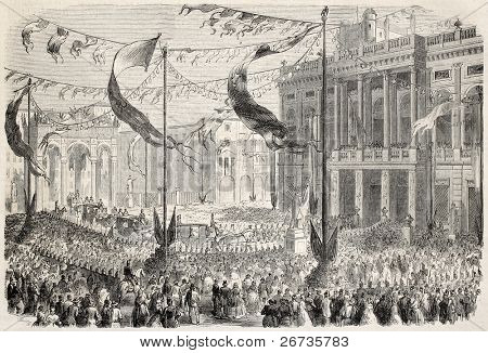 Entrance of King Victor Emmanuel at Palazzo Madama, in Turin, opening Italian Parliament. From drawing of Durand, after sketch of Teja,  published on L'Illustration, Journal Universel, Paris, 1860