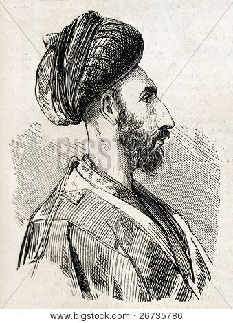 Antique illustration shows image of Persian man in Isfahan. Original illustration, engraved on design by E. Duhousset, was published on L'Illustration, Journal Universel, Paris, 1860