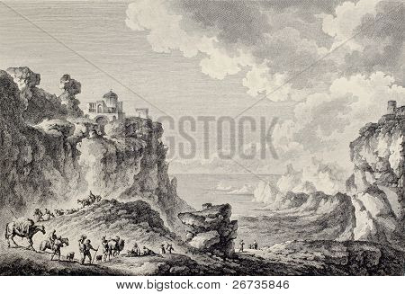 View of Monte San Giuliano, Sicily. Created by Chatelet and Paris, published on Voyage Pittoresque de Naples et de Sicilie, by J. C. R. de Saint Non, Imprimerie de Clousier, Paris, 1786