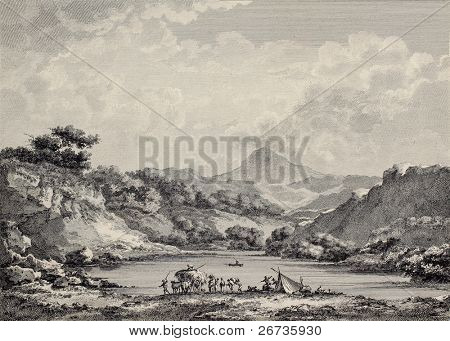 Proserpina lake near Enna, Sicily. Created by Chatelet and Varin, published on Voyage Pittoresque de Naples et de Sicilie, by J. C. R. de Saint Non, Imprimerie de Clousier, Paris, 1786