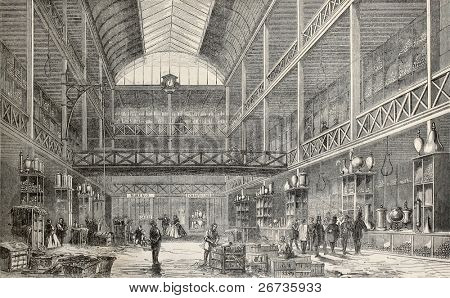 Old illustration of central storehouse of glass factory Renault, Rue de l'Entrepot, Marais, Paris. Original, from drawing of Lancelot, was published on L'Illustration, Journal Universel, Paris, 1860