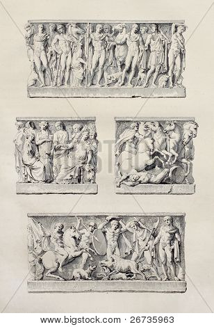 Sepulchral stones in Agrigento cathedral, Sicily. Created by Renard and Aubin, published on Voyage Pittoresque de Naples et de Sicilie, by J. C. R. de Saint Non, Impr. de Clousier, Paris, 1786