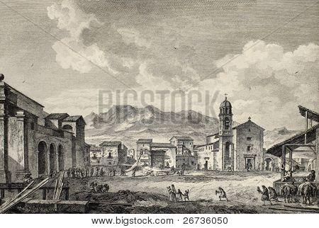 View of the main square in Carini, near Palermo, Italy. By Desprez and De Ghendt, published on Voyage Pittoresque de Naples et de Sicilie,  J. C. R. de Saint Non, Impr. de Clousier, Paris, 1786