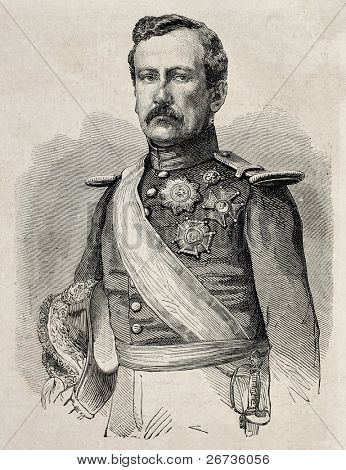 Old engraved portrait of General Rafael Etchague, Spanish army Division General. Original, from drawing of Marc, was published on L'Illustration Journal Universel, Paris, 1860