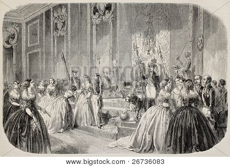 Antiga ilustração da Rainha da mão de Espanha beijando a cerimônia. Original, do desenho de Blanchard, um