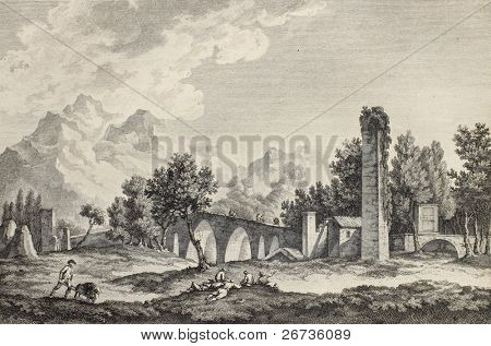 Ponte Ammiraglio (Admiral's bridge) in Palermo surroundings, Italy. By Chatelet and De Longueil, pub. on Voyage Pittoresque de Naples et de Sicilie,  J. C. R. de Saint Non, Im.de Clousier, Paris, 1786