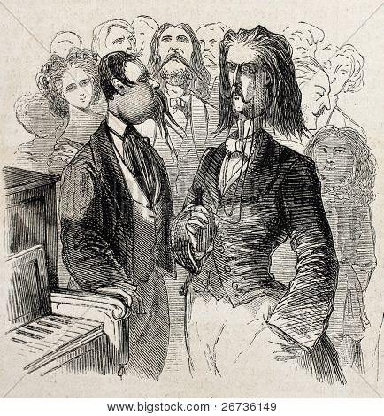 Antique caricatural illustration of piano players. Original, from drawing of Carlo Gripp, was published on L'Illustration Journal Universel, Paris, 1860