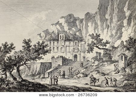 Santa Rosalia grotto, Mount Pellegrino, Palermo, Italy. By Chatelet and Du Parc, published on Voyage Pittoresque de Naples et de Sicilie,  J. C. R. de Saint Non, Imprimerie de Clousier, Paris, 1786