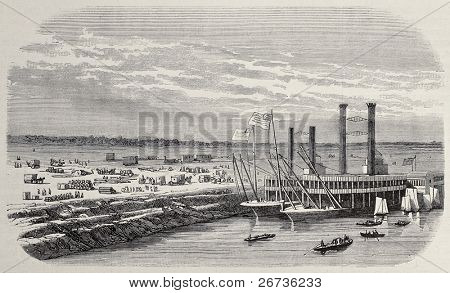 Antique illustration of landing stage at Omaha, beginning point of Union Pacific railroad. Original, after drawing of Blanchard, was published on L'Illustration, Jounrnal Universel, Paris, 1968